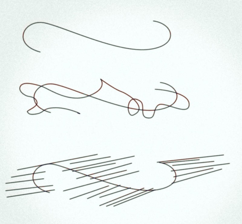 Deleuze's sketch for the inflection point in the fold.